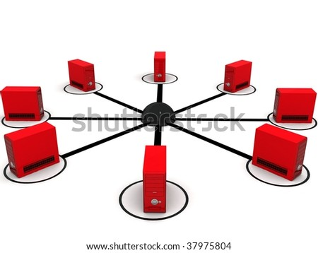 three dimensional global network with white background - stock photo