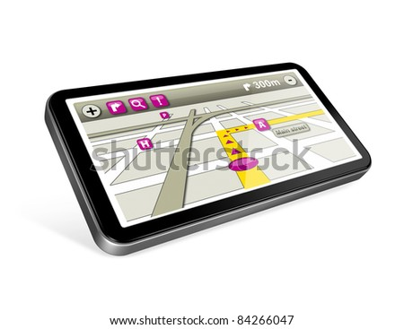 three dimensional GPS navigator with 2 clipping path : one for the phone and one for screen.