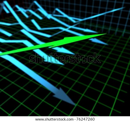 three-dimensional graph of the arrows - stock photo