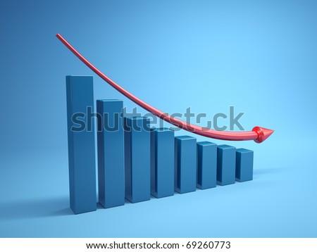 Three dimensional graph to decline - stock photo