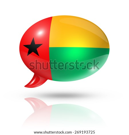 three dimensional Guinea Bissau flag in a speech bubble isolated on white with clipping path - stock photo