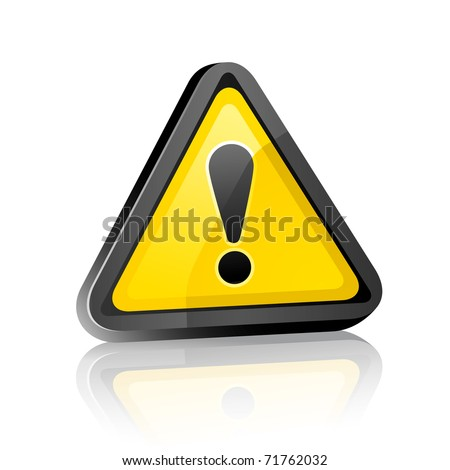 three-dimensional Hazard warning attention sign with exclamation mark  on white background with reflection. Bitmap copy my vector ID 59914405 - stock photo