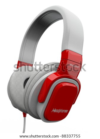 Three-dimensional headphones on white isolated background. 3d - stock photo