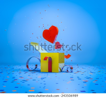 Three dimensional illustration of a present and two hearts coming out. Realistic and colorful. - stock photo