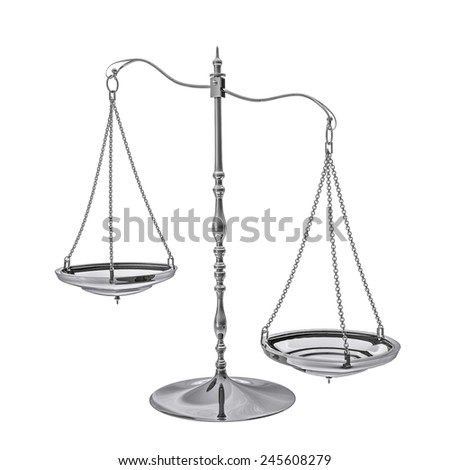 Three dimensional illustration of a scales, weighing, weight, balance and other concepts on a white background