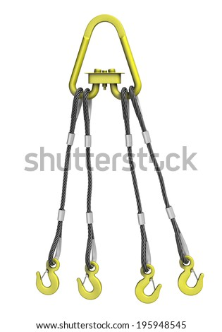 Three-dimensional illustration of cargo strapping: metal cable with crane hook - stock photo