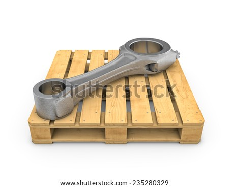 Three-dimensional illustration of connecting rod on wooden pallet on white background