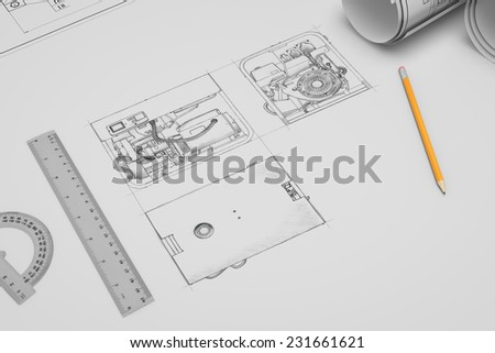 Three-dimensional illustration of flat techincal drawing and sketch of portable gasoline generator - stock photo