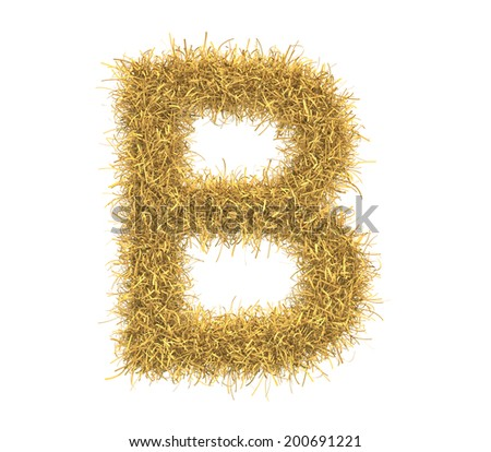 Three-dimensional illustration of letter B of hay isolated on white background - stock photo
