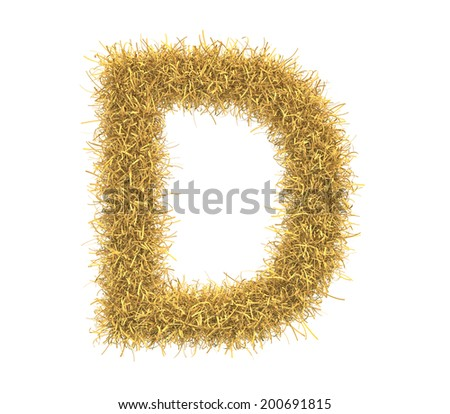 Three-dimensional illustration of letter D of hay isolated on white background - stock photo