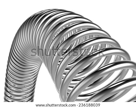 Three-dimensional illustration of metal spring isolated on a white background - stock photo