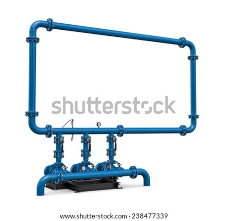 Three-dimensional illustration of pump station of water - stock photo