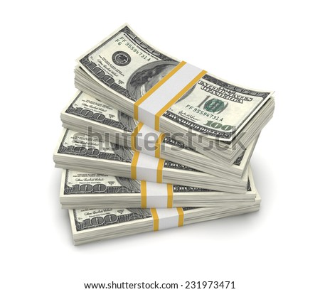 Three-dimensional illustration of stack of dollar USA isolated on white background - stock photo