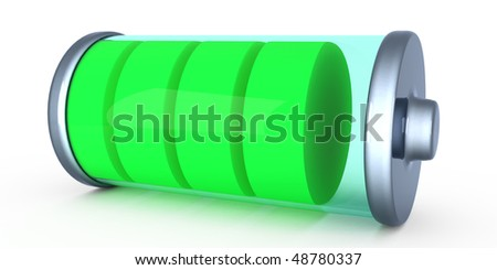 three-dimensional illustration of the battery - stock photo