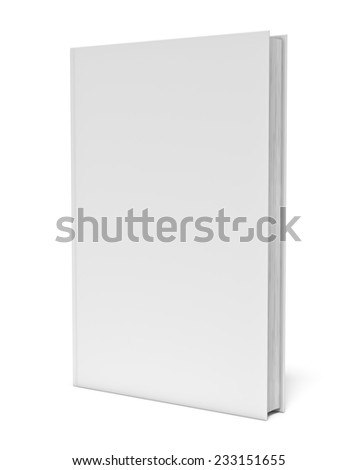 Three-dimensional illustration of white blank book on white background