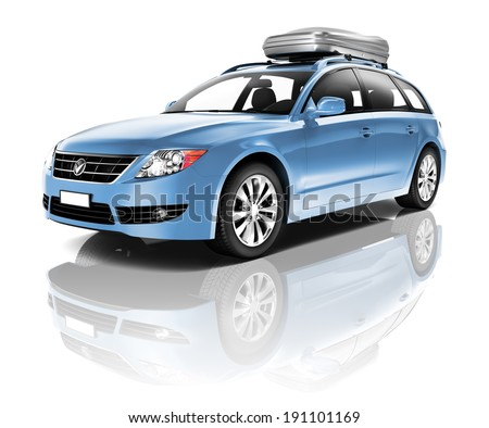 Three Dimensional Image of a Blue Car - stock photo