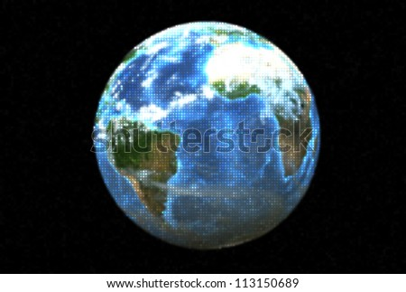 Three dimensional image of a dotted planet earth.