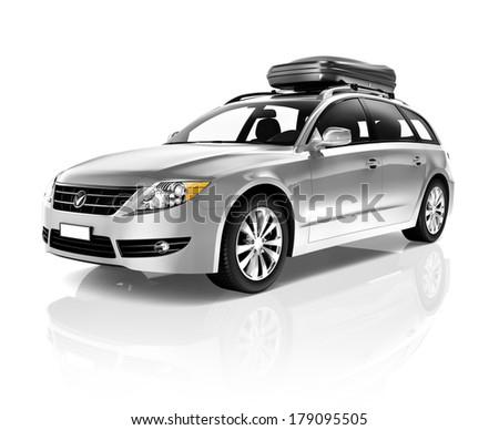 Three Dimensional Image of a Silver Family Sedan Car - stock photo