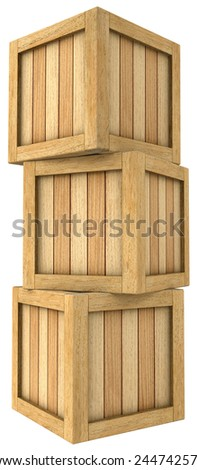 Three-dimensional image of a tower of wooden boxes on a white background. - stock photo