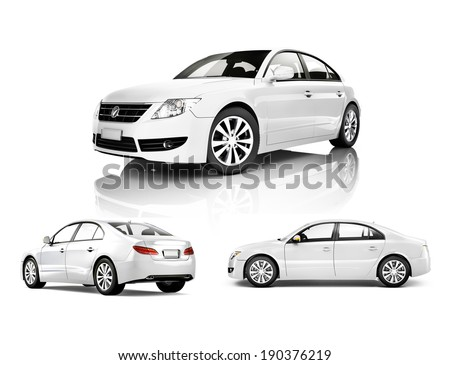 Three Dimensional Image of a White Car - stock photo