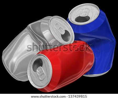 Three dimensional image of heap crumpled aluminum cans isolated on black background.