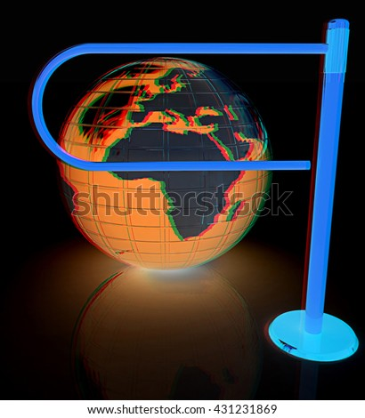 Three-dimensional image of the turnstile and earth. On a black background. 3D illustration. Anaglyph. View with red/cyan glasses to see in 3D. - stock photo