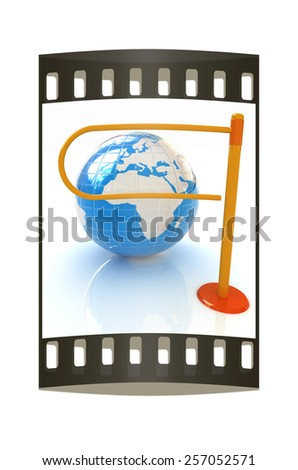 Three-dimensional image of the turnstile and earth. The film strip - stock photo