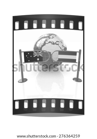 Three-dimensional image of the turnstile and flags of Australia and Austria on a white background. The film strip - stock photo