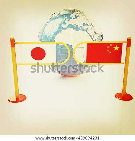 Three-dimensional image of the turnstile and flags of China and Japan on a white background . 3D illustration. Vintage style. - stock photo