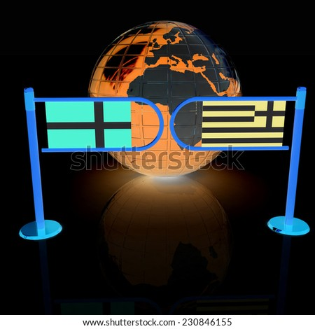 Three-dimensional image of the turnstile and flags of Denmark and Greece on a black background  - stock photo