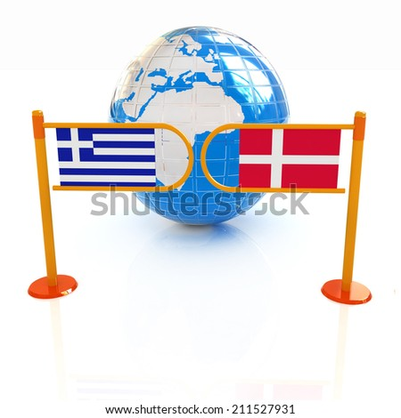 Three-dimensional image of the turnstile and flags of Denmark and Greece on a white background  - stock photo