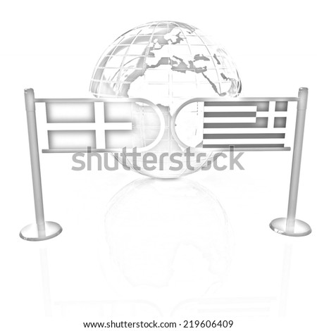 Three-dimensional image of the turnstile and flags of Denmark and Greece on a white background. Pencil drawing  - stock photo