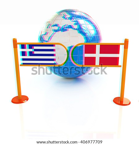 Three-dimensional image of the turnstile and flags of Denmark and Greece on a white background . 3D illustration. Anaglyph. View with red/cyan glasses to see in 3D. - stock photo