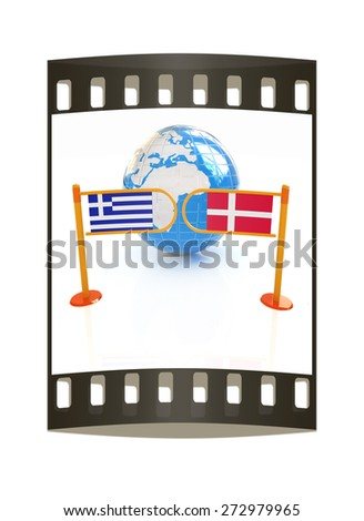 Three-dimensional image of the turnstile and flags of Denmark and Greece on a white background. The film strip - stock photo