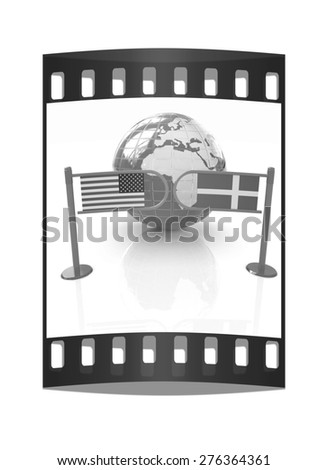 Three-dimensional image of the turnstile and flags of Denmark and USA on a white background. The film strip - stock photo