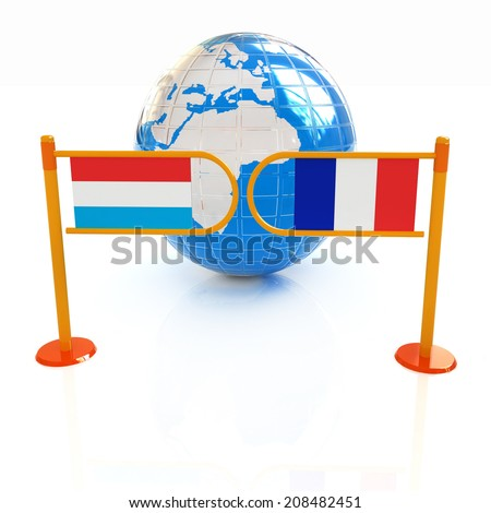 Three-dimensional image of the turnstile and flags of France and Luxembourg on a white background  - stock photo
