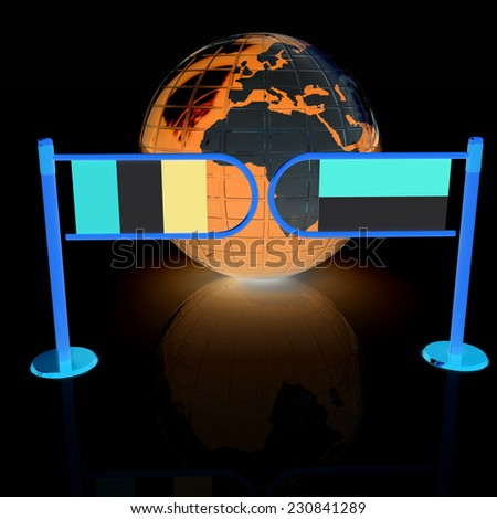 Three-dimensional image of the turnstile and flags of France and Monaco on a black background  - stock photo