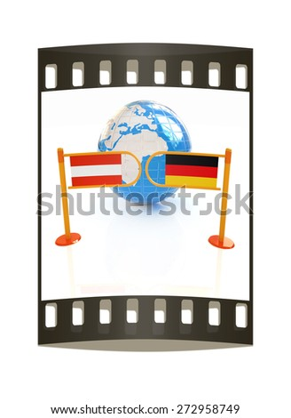 Three-dimensional image of the turnstile and flags of Germany and Austria on a white background. The film strip - stock photo