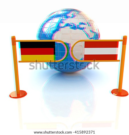 Three-dimensional image of the turnstile and flags of Germany and Austria on a white background . 3D illustration. Anaglyph. View with red/cyan glasses to see in 3D. - stock photo