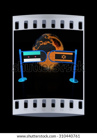 Three-dimensional image of the turnstile and flags of Israel and Syria on a black background. The film strip - stock photo