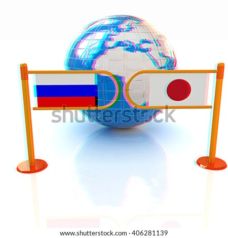 Three-dimensional image of the turnstile and flags of Japanese and Russia on a white background . 3D illustration. Anaglyph. View with red/cyan glasses to see in 3D. - stock photo
