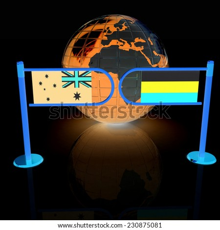 Three-dimensional image of the turnstile and flags of Russia and Australia on a black background  - stock photo