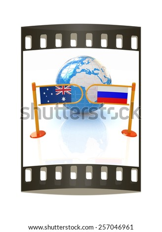 Three-dimensional image of the turnstile and flags of Russia and Australia on a white background. The film strip - stock photo