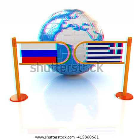 Three-dimensional image of the turnstile and flags of Russia and Greece on a white background . 3D illustration. Anaglyph. View with red/cyan glasses to see in 3D. - stock photo