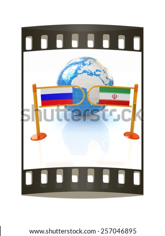 Three-dimensional image of the turnstile and flags of Russia and Iran on a white background. The film strip - stock photo
