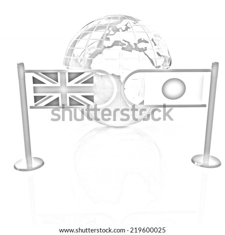 Three-dimensional image of the turnstile and flags of UK and Japan on a white background. Pencil drawing  - stock photo