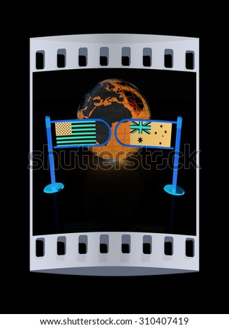 Three-dimensional image of the turnstile and flags of USA and Australia on a black background. The film strip - stock photo