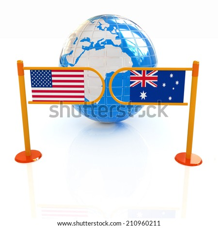 Three-dimensional image of the turnstile and flags of USA and Australia on a white background  - stock photo