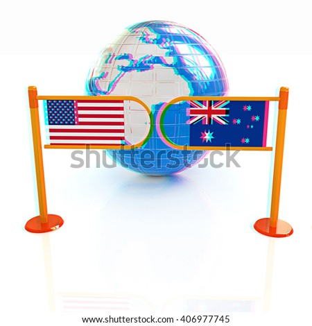 Three-dimensional image of the turnstile and flags of USA and Australia on a white background . 3D illustration. Anaglyph. View with red/cyan glasses to see in 3D.