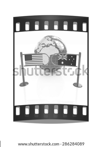 Three-dimensional image of the turnstile and flags of USA and Australia on a white background. The film strip - stock photo